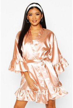 Bridesmaid Satin Ruffle Robe, Rose gold, DAMEN