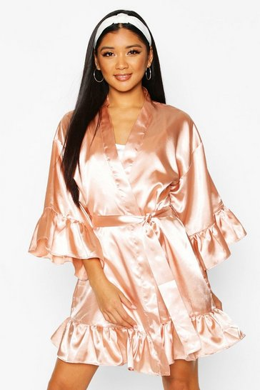 Womens Rose gold Bridesmaid Satin Ruffle Robe