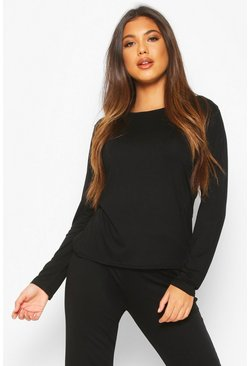 Womens Black Soft Mix & Match Pyjama Long Sleeve Tee