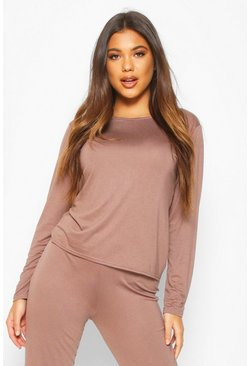 Mocha Soft Mix & Match Pyjama Long Sleeve Tee