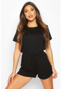 Womens Black Soft Mix & Match Oversized Pyjama Tee