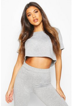 Womens Grey Soft Mix & Match Pyjama Crop Tee