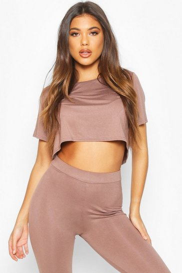 Womens Mocha Soft Mix & Match Pyjama Crop Tee