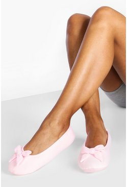 Pink Bow Soft Pump Slippers