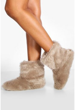 Womens Mink Faux Fur Bootie Slippers