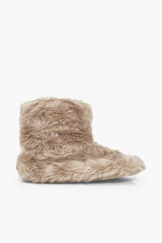 Faux Fur Bootie Slippers