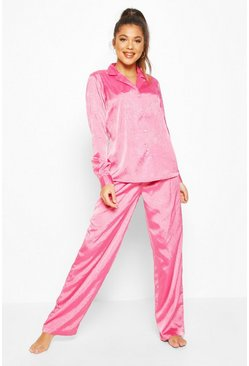 Womens Pink Jaquard Satin Long Sleeve Pyjama Set
