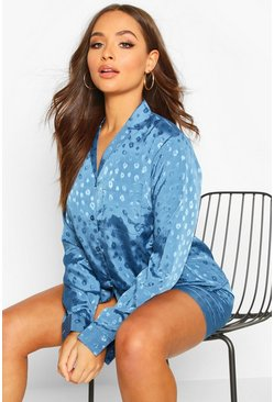 Dam Midnight Satin Leopard Jaquard Long Sleeve & Shorts PJ Set