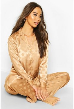 Womens Camel Satin Polka Dot L/S Pyjam Set