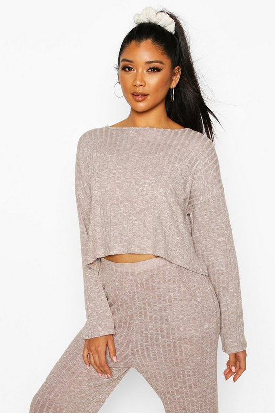 Stone Brushed Rib Long Sleeve Lounge Pocket Crop Top