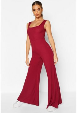 Womens Berry Rib Flare Lounge Jumpsuit