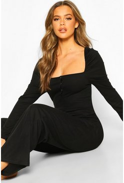 Womens Black Rib Puff Shoulder Wide Leg Loungewear Set