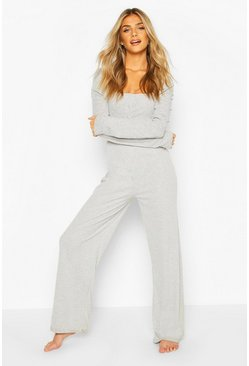 Grey marl Rib Puff Shoulder Wide Leg Loungewear Set