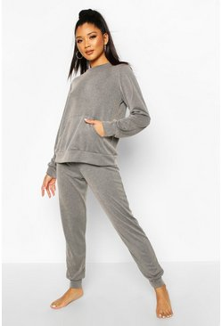 Womens Grey Acid Wash Rib Pocket Top & Jogger Lounge Set