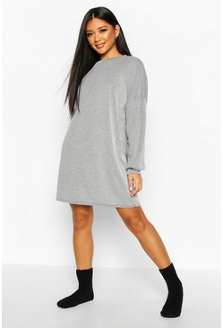 Womens Black Acid Wash Rib Oversized Lounge Dress