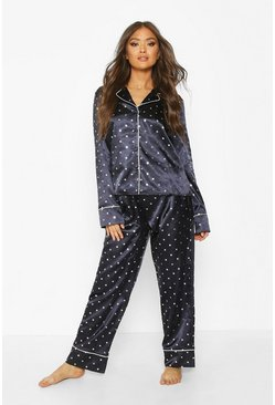 Womens Blue Premium Satin Metallic Star Print PJ Set