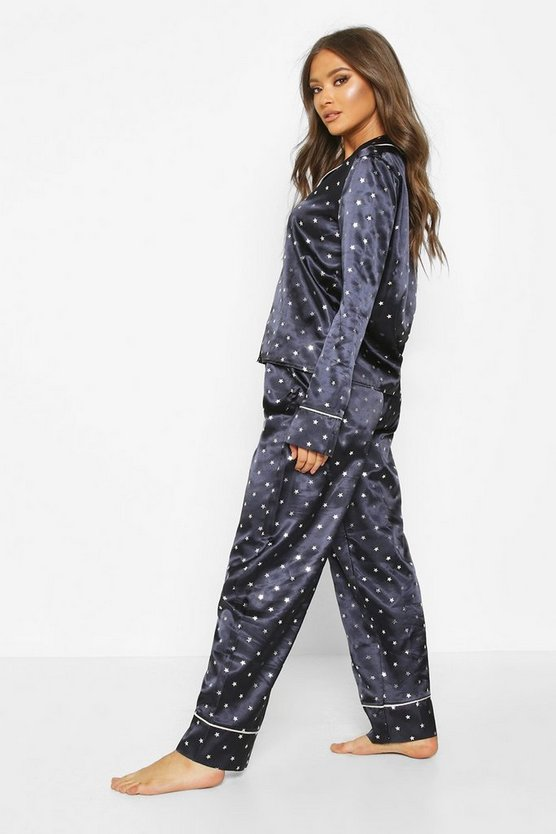 Premium Satin Metallic Star Print PJ Set