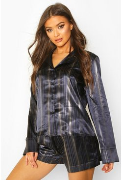 Womens Navy Premium Metallic Stripe Satin PJ Short Set