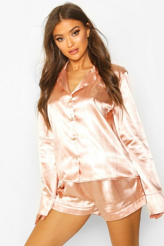 Premium Metallic Stripe Satin PJ Short Set
