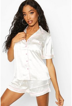 Dam Ivory Satin Button Through PJ Short Set