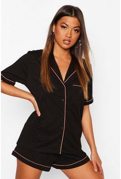 Womens Black Short Sleeve Button Through Soft Short Set
