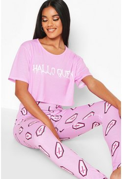 Ensemble pyjama legging reine d'Halloween, Rose, Femme