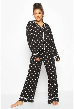 Womens Black Polka Dot Button Through Pyjama Trouser Set