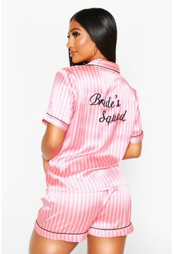 Womens Pink Satin Stripe Bride Squad PJ Short Set