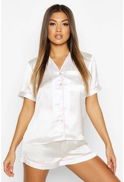 Womens Ivory Satin Button Through PJ Short Set