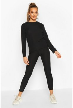 Womens Black Rib Long Sleeve Lounge Set