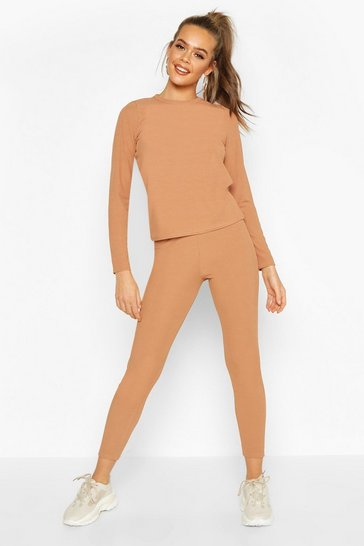 Womens Camel Rib Long Sleeve Lounge Set