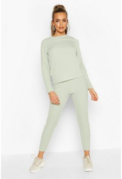Womens Sage Rib Long Sleeve Lounge Set
