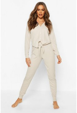 Stone Rib Tie Front Top & Legging Lounge Set