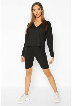 Dam Black Jumbo Rib VNeck Top & Shorts Lounge Set