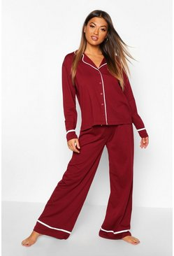 Womens Berry Long Sleeve Button Through Jersey PJ Set