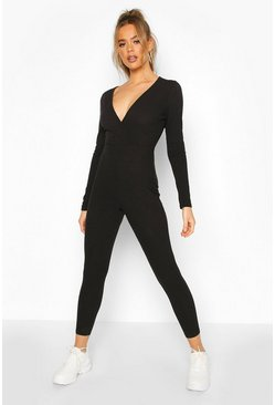 Womens Black Rib Wrap Onesie