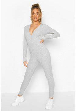 Womens Grey Rib Wrap Onesie