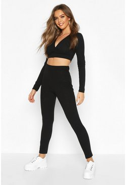 Womens Black Rib Wrap Top Legging Lounge Set