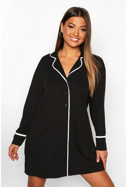 Womens Black Button Through Oversized Shirt Nightie