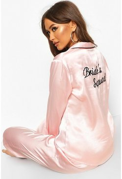 Womens Rose gold Bride Squad Satin PJ Set