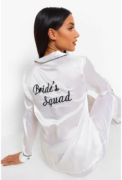 Womens Ivory Bride Squad Satin PJ Set