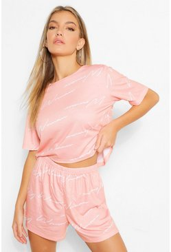 Parure de pyjama top à inscription Woman et short, Blush