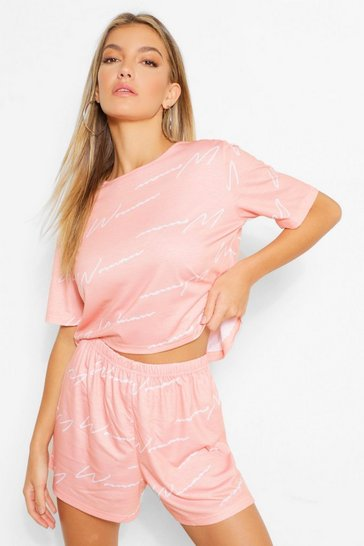Womens Blush Woman Script Top & Short Pyjama Set