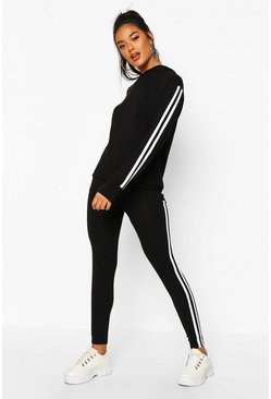 Black Side Stripe Hoodie & Leggings Lounge Set