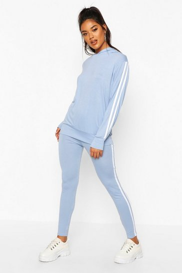 Womens Ice Side Stripe Hoodie & Leggings Lounge Set