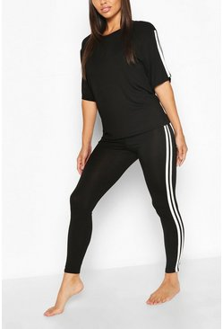 Womens Black Side Stripe T-shirt Leggings Lounge Set