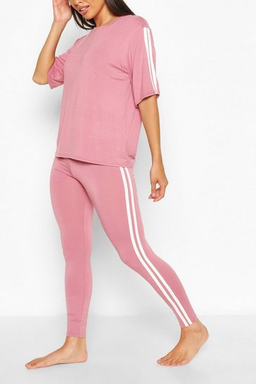 Rose Side Stripe T-shirt Leggings Lounge Set