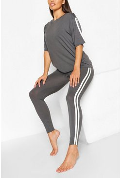 Slate Side Stripe T-shirt Leggings Lounge Set