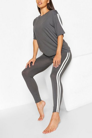 Womens Slate Side Stripe T-shirt Leggings Lounge Set