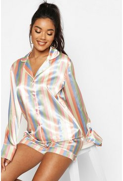 Womens Multi Stripe Satin PJ Short Set